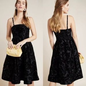 NWT ANTHROPOLOGIE Jonquil Midi Dress Black Size 6